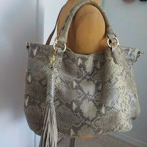 SnakeSkin Leather Large Slouchy HoBo Duel Bag